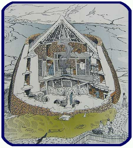 Cutaway drawing of a broch