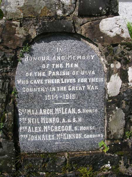Memorial plaque to Sgt Major Archibald MacLean